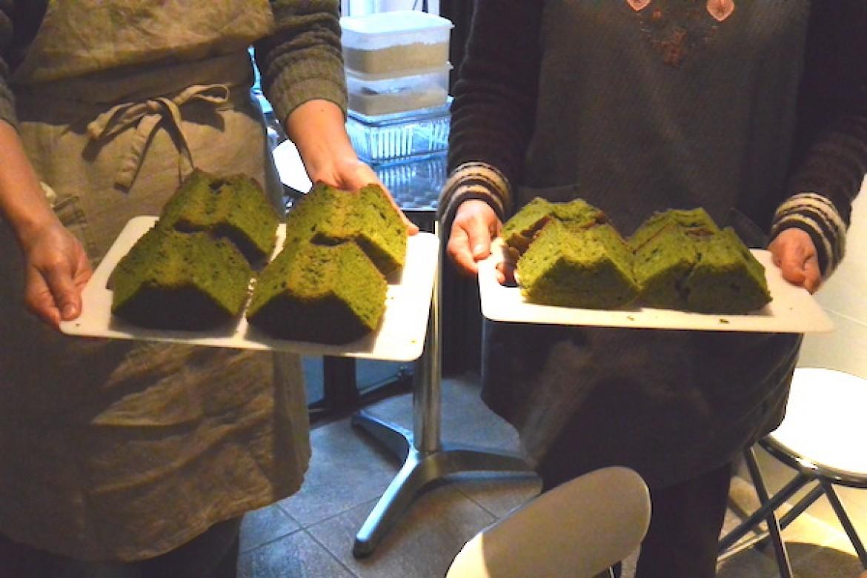 基礎クラス 抹茶シフォンケーキ、大成功でした!