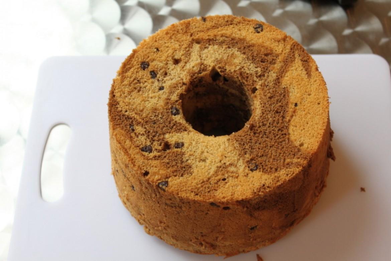 プライベートレッスン 珈琲マーブルチョコチップシフォンケーキ作りました♪模様が華やかでプレゼントにも最適です